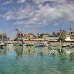 Porto antico, medievale, Barche, Vista da collina sul mare, Byblos Jbeil, Libano